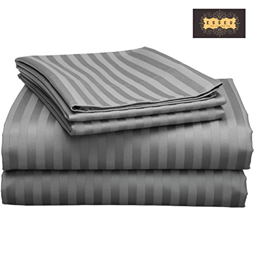 300 Thread Count 100% Cotton Sheet Set, Damask Stripe,Soft Sateen Weave, Deep Pockets,Home & Hotel Collection,Luxury Bedding-Bestseller- Super Sale 100% Cotton, by ESSEU (Queen, Elephant (Damask Stripe 400 Thread)