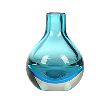 CASAMOTION Hand Blown Art Glass Bud Vase, Gift Boxed, Blue