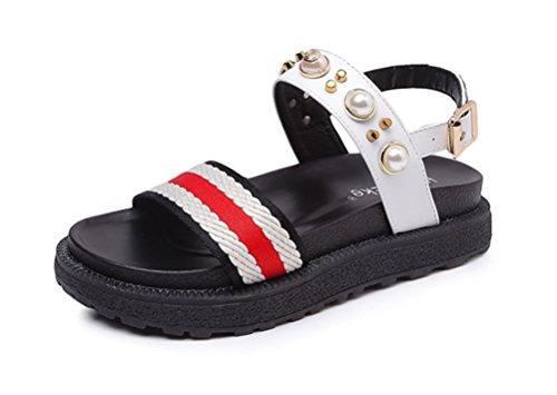 NVXIE Femmes Été Strass Perle Bohême Rond Ouvrir Doigt de Pied des Sandales Boho Plage Fille Appartement des Sandales Chaussures white