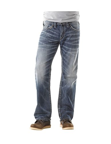 Silver Jeans Co. Men's Zac Relaxed Fit straight leg jeans, Light Indigo, 33Wx 36L
