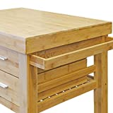 Clevr Rolling Bamboo Wood Kitchen Island Cart