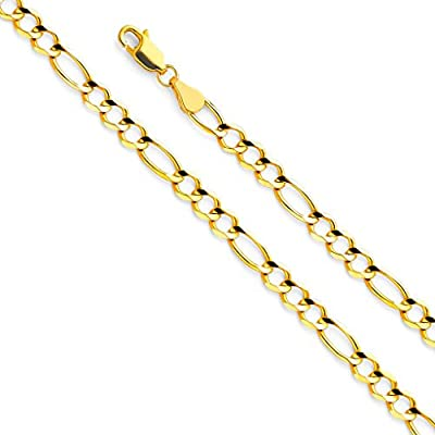 14k Yellow Gold SOLID Men's 4.5mm Figaro 3+1 Open Chain Bracelet with Lobster Claw Clasp - 7.5""