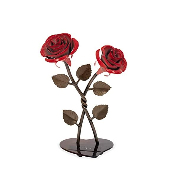 Personalized Gift Hand-Forged Wrought Iron Red Metal Roses (Set of 2)