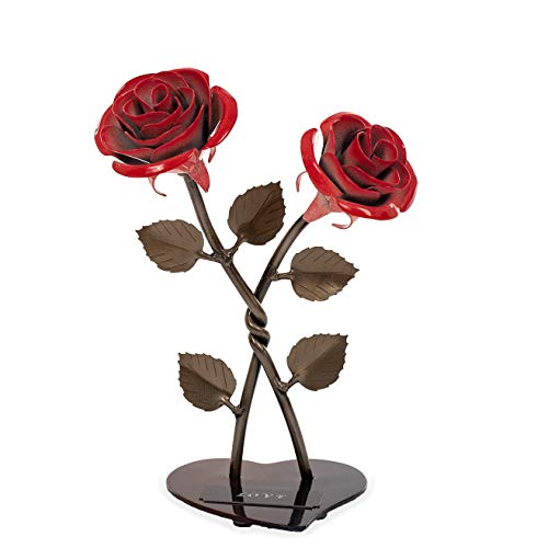 - Personalized Gift Hand-Forged Wrought Iron Red Metal Roses (Set of 2)