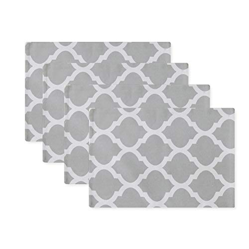 NATUS WEAVER Set of 4, 2 Side Cotton Placemats Heat Resistant Dining Table Place Mats for Kitchen Table, 12 x 18 inches, Geometric Trellis Chain Print, Grey ()