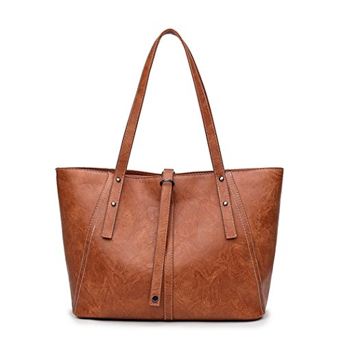 Amoyie – Moda borse a mano in pelle, Eleganti borse tote donna, borsa shopping borsa da lavoro borse a tracolla Marrone Marrone