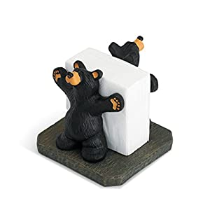Joe and Roscoe Bears Classic Black 7 x 6 Hand-Cast Resin Stone Napkin Holder