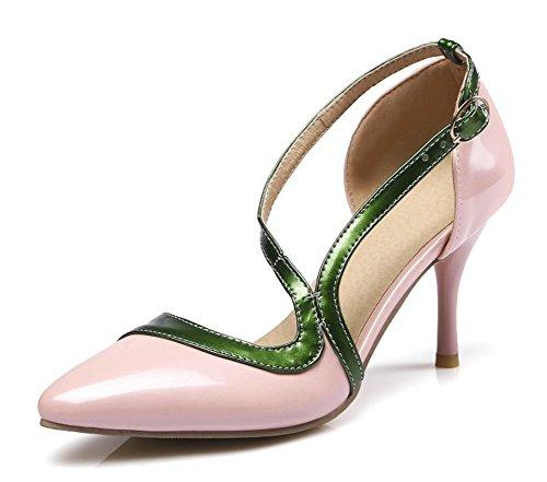 Aisun Kvinna Mode Färgkontrasterade Stängd Tå Klänning Spänne Dorsay Stilett Högklackade Sandaler Rosa