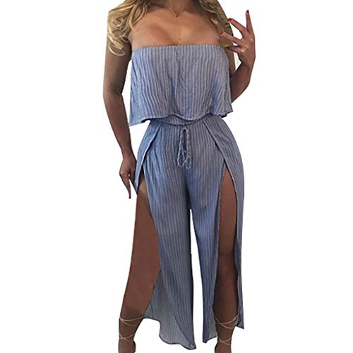 (Yucode Women Jumpsuit Rompers,Sexy Wrapped Chest Striped Casual Open Wide Leg Clubwear Jumpsuit Blue)