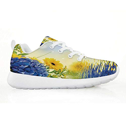 TecBillion Yellow and Blue Comfortable Running Shoes,Romantic Bouquet of Hydrangeas and Asters on Water Background for Kids Boys,EU32