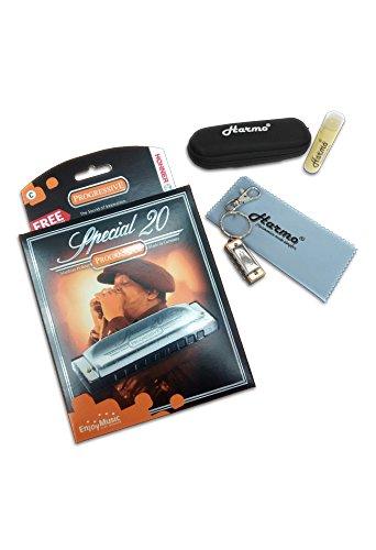 Progressive Harmonica (Hohner Special 20 C harmonica - Mega Bundle with case, lip balm, cloth and Harmo mini harmonica)