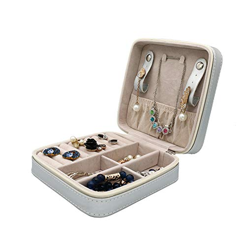 Fosinz Leather Jewelry Box Small Travel Case Classic Lint Jewelry Organizer Display Storage Case for Rings Earrings Necklace (M, Silver)