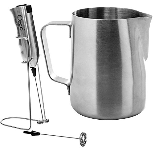 (Ozeri OZMF2 Deluxe Stainless Steel Milk Frother and 12-Ounce Frothing Pitcher with Extra Whisk Attachment, Silver)