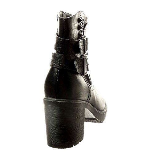 Angkorly - damen Schuhe Stiefeletten - Biker - Schlangenhaut - Nieten - besetzt - Schleife Blockabsatz high heel 6.5 CM - Schwarz
