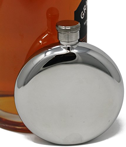 5 oz Discrete Round Pocket Alcohol Liquor Flask (Shiny) Made from 304 (18/8) Food Grade Stainless -