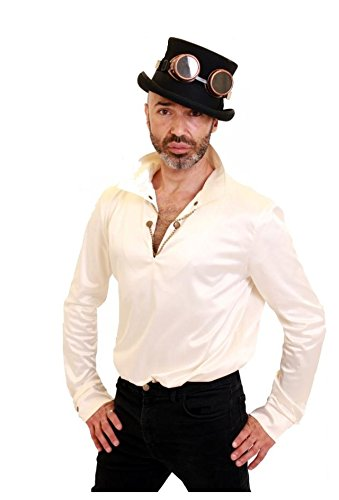 [Size 2XL Cream Steampunk Mens Shirt with Chains Across the V Neck Opening] (Larp Costumes Uk)