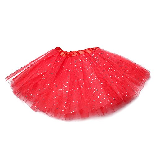 Anleolife 12 inch Red Tutu Skirt Girls Cute Ballet Tutu Baby Birthday Tutus (red) ()
