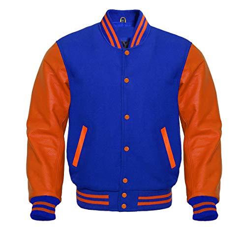 MEDROYALE Premium Letterman Baseball School College Bomber Varsity Jacket Wool Blend & Orange Genuine Leather Sleeves (Orange/Royal Blue, L)