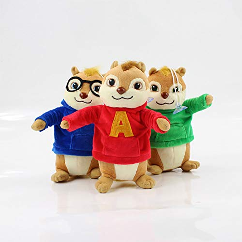 LQT Ltd 3pcsLot Top Stuffed Animal Alvin and The Chipmunks Alvin Simon Theodore Plush Pedant Cartoon Doll Toy Hot Movie Soft Stuffed Mouse Plush 20cm