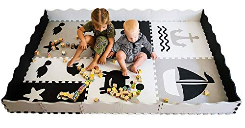 Baby Play Mat with Edges - Extra Large (6ftx6ft) Extra Thick (0.56) Interlocking Foam Tiles with Sea Creatures Patterns | Crawling Mat for Infants | Puzzle Mat for Kids (Black and White)