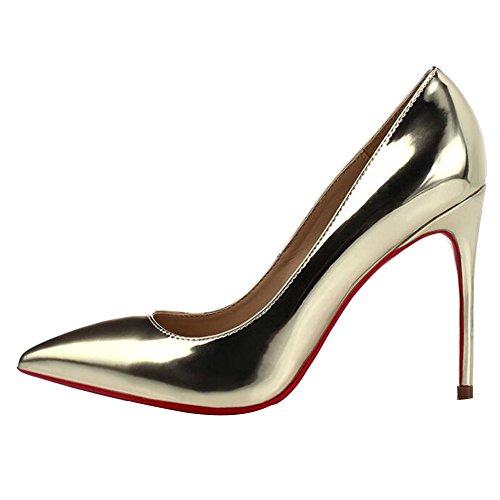 Spitz gl Frauen Gold nzende Licht Hochzeit geschlossen HWAN Heel Schuhe Pump High SpqIwW5