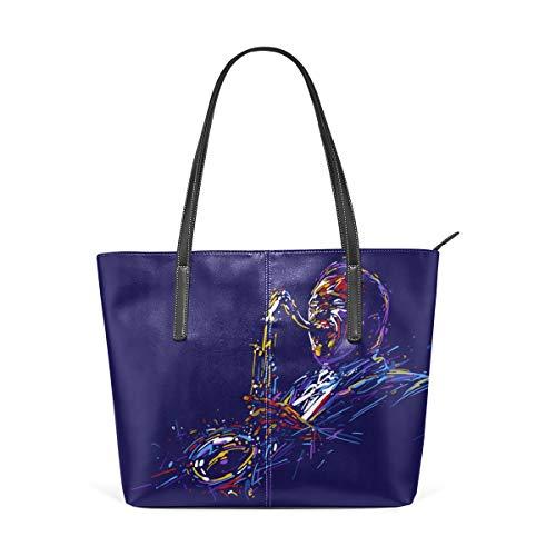 (Laptop Tote Bag Saxophone Solo Performance Large Printed Shoulder Bags Handbag Pu Leather Top Handle Satchel Purse Lightweight Work Tote Bag For Women Girls)