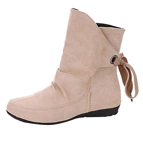 - ✔ Hypothesis_X ☎ Women Ankle Boot - Low Stacked Heel Closed Toe Casual Lace Up Buckle Roman Ankle Short Boots Beige
