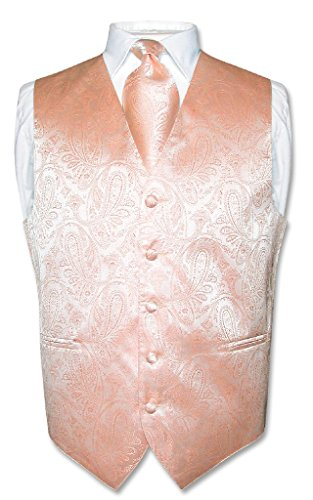 Men's Paisley Design Dress Vest & NeckTie PEACH Color Neck Tie Set sz L (Rose Tuxedo Vest)