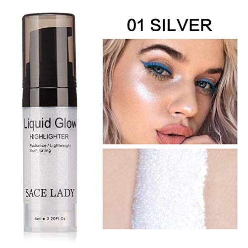Pressed Highlighter Liquid Shimmer Smooth Long-lasting Glow Lip Chest Foundation Makeup Cream High Light Facial Bronzer Concealer Cosmetic Highlighter Liquid (A) ()