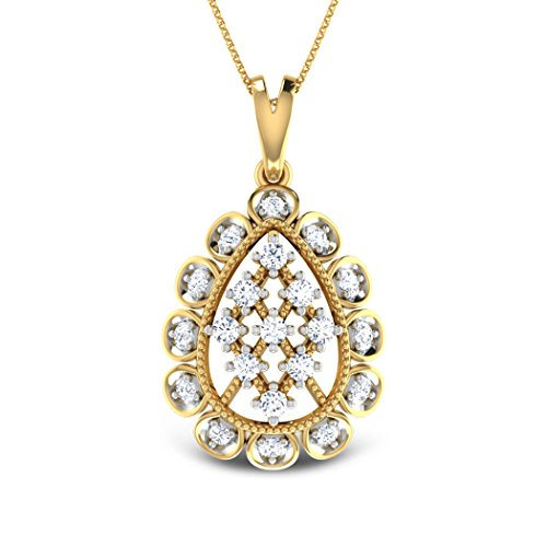 18K Or Blanc 0,38CT TW Round-cut-diamond (IJ | SI) Pendentif