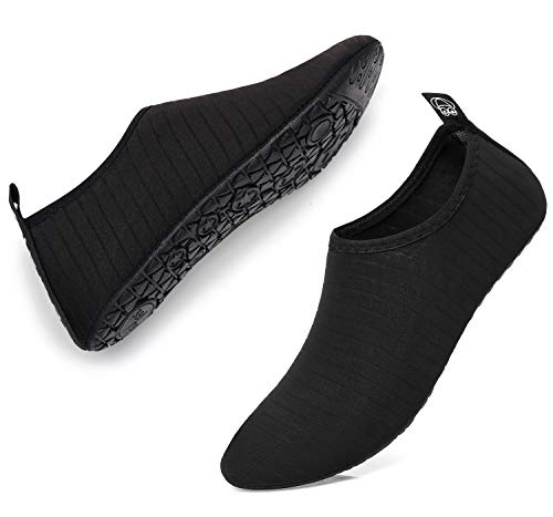 Unisex Quick-Drying Aqua ShoesSummer Outdoor Swimming Slipper On Surf Beach Men Women Water Shoes Black Women Size 7.5 8.5 / Men Size 6.5 7.5 (Best Shoes For Rappelling)