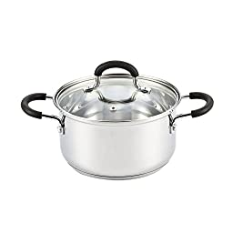 Cook N Home Stainless Steel Cookware 3 Quart Sauce Pot with Lid