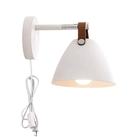 Bon Kiven Wall Sconce Lamps Plug In Lighting Fixture With On Off Switch,White  Wall