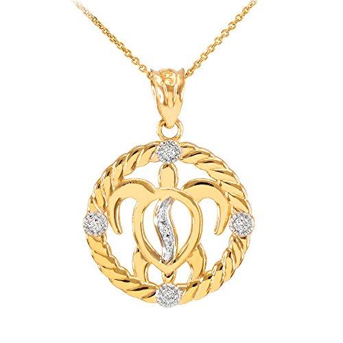 Collier Femme Pendentif 10 Ct Or Jaune Côtelé Cercle Diamant-Accentué Hawaiienne Honu Turtle (Livré avec une 45cm Chaîne)
