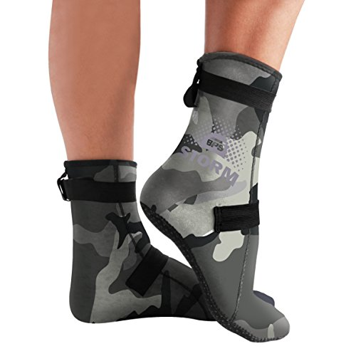 - BPS Neoprene Socks - Improved Sole Grip - Grey Camo/Lilac Grey - XS