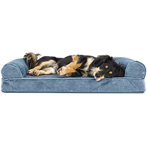 Blue Dog Bed - Furhaven Pet Dog Bed | Orthopedic Faux Fleece & Chenille Sofa-Style Couch Pet Bed for Dogs & Cats, Harbor Blue, Medium