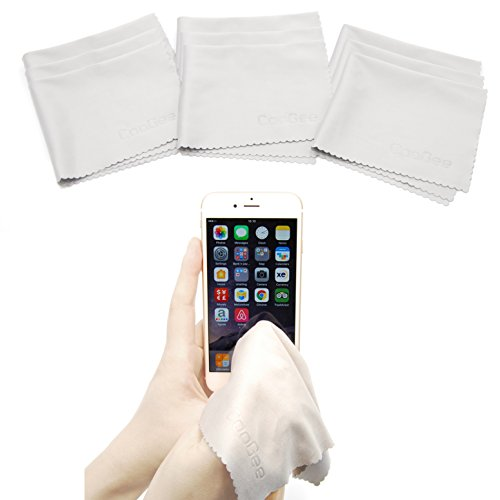 """CooGee Premium Microfiber Cleaning Cloths - 9 Pack - Size 9"""" x 7"""" - For All Types of Delicate Sufaces like Eyeglasses,Camera Lenses, Laptop Screens, LCD TVs, Cellphones and Jewelry (Gray)"""