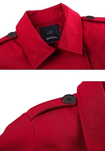 Petto Pisello Rosso Cappotto Cintura con Wantdo Doppio Donna 0XqEn7dxw