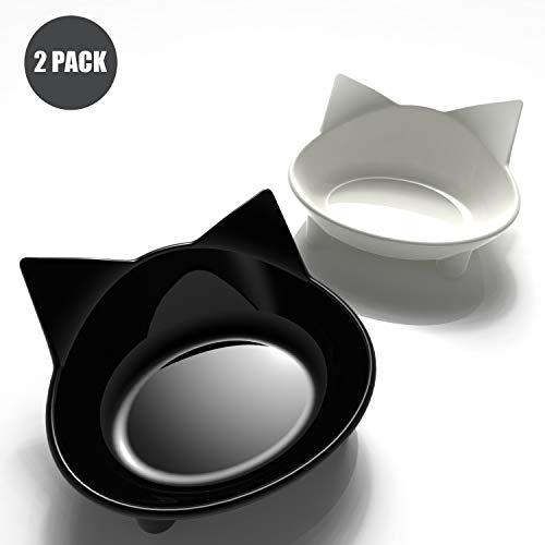 Ureverbasic Cat Bowls, Multipurpose Cat Feeding Bowls Anti-Slip Cat Dishes Pet Bowl for Small Kitten Cat, Double Cat Bowl 2 Pack, White/Black