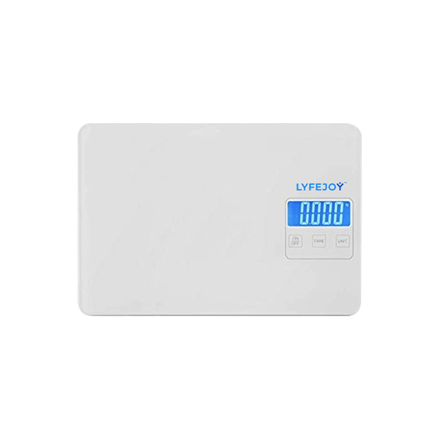Lyfejoy Digital Kitchen Scale Weight Grams and Ounces for Cooking, Diet, Food Preparation, High Precision Milligram, Backlit Display, White Tempered Glass, 15kg/33lbs