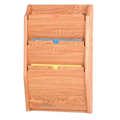 - Wooden Mallet PCH24-3 Light Oak 3-Pocket HIPAA Compliant Wall Mounted Privacy File / Chart Holder