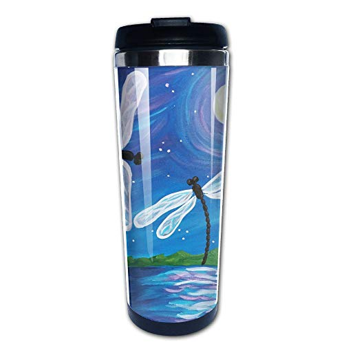 Mug Large Dance (EARTGO Creatrive Vacuum Insulated Stainless Steel Water Bottle Trave Mugs (400ml/13.4oz) with Lid Print Dragonfly Dance Painting Coffee Cup, for Home/Office/School/Travel/Camping Hiking)