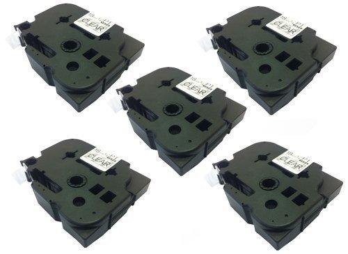 Eseller Direct Kompatible Ersatz-KleBestereifen-Etiketten, TZ141 PT1760 für Brother P-Touch PT1000, 18° mm breit x 8° m lang, 5 Schwarz auf transparent