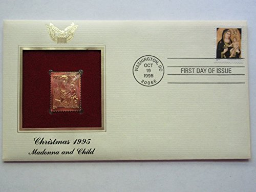 1995 Christmas Madonna and Child 22K Gold Golden Cover FDC replica Stamp ()