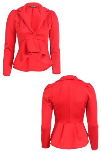 con 55F da sbuffi Rosso maniche sulle giacca spalle lunghe a donna r5WrFqY