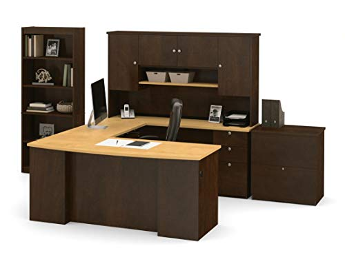 Bestar 3-Piece Set Including a U-Shaped Desk with Hutch, a lateral File Cabinet, and a Bookcase - Manhattan