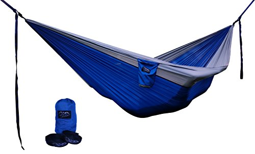Potomac Banks Double Parachute Hammock w/Carabiners FREE Pair of Quick Set Up Adjustable 16 Loop Tree Friendly Straps Quick Dry Lightweight Nylon for Travel Hiking Camping Backyard (Blue/Gray, Large) (Banks Furniture)