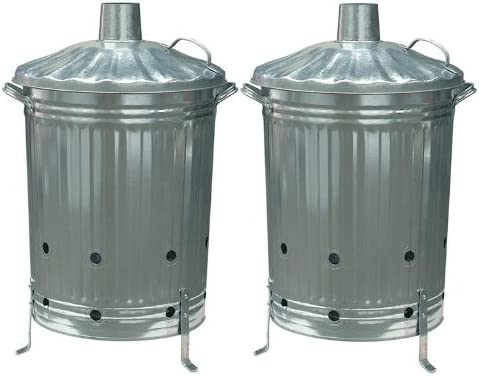CrazyGadget 2 x Papelera incinerador de jardín, 90 L, Acero galvanizado, Basura, 2 Unidades: Amazon.es: Jardín