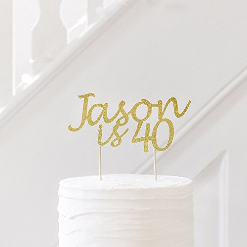 40th Birthday Cake Decoration Topper Personalised With Name And Age Any Glitter Colour Party Decorations Amazoncouk Handmade