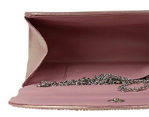 De Bolsos Femeninos Rosa Preciosas Color Piedras Embrague De Satén Bolsa qwtwArOB